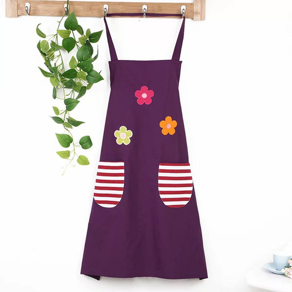 Ladies bib apron dress home kitchen pocket cooking cotton blouse