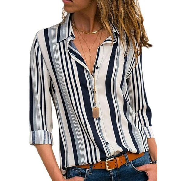 Casual striped long-sleeved women's fashionable Lapel shirt