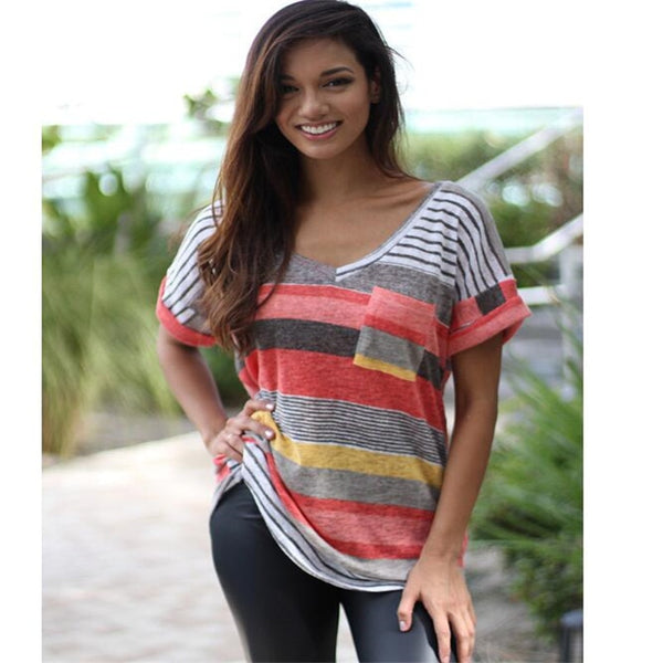 Striped Print V-neck Casual T-Shirt Large Size