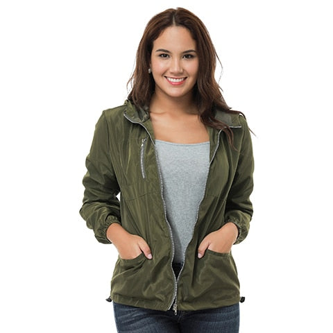 Vintage fashion long sleeve women's solid color casual zipper jacket