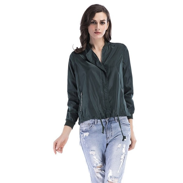 Vintage fashion solid color zipper casual jacket