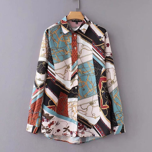 Women's Vintage Print Casual Long Sleeve Vintage Top