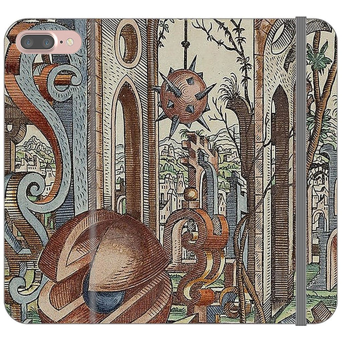 Geometric Jungle schoollistdone.com Premium Folio Wallet Satin Case (Clear PC Insert) iPhone 8 Plus
