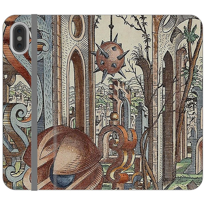 Geometric Jungle schoollistdone.com Premium Folio Wallet Satin Case (Clear PC Insert) iPhone XS Max