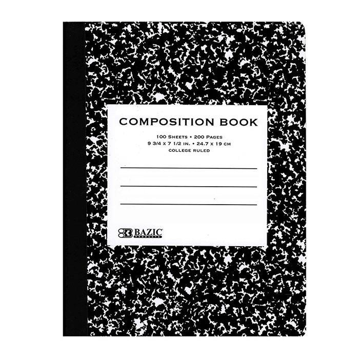 Black Marble Composition Notebook - 100 College Ruled Sheets schoollistdone.com