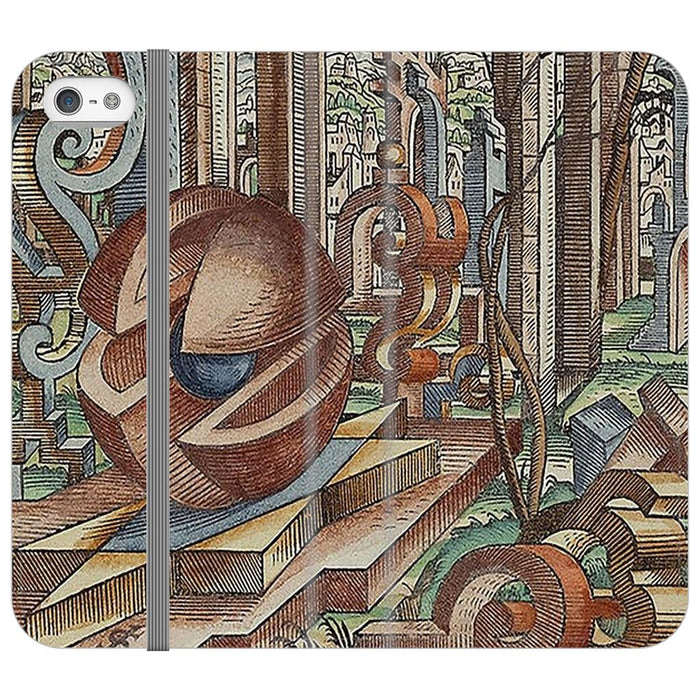 Geometric Jungle schoollistdone.com Premium Folio Wallet Satin Case iPhone SE