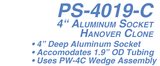 PS-4019-C 4 in. Hanover Socket Aluminum for 1.9 in. Rail