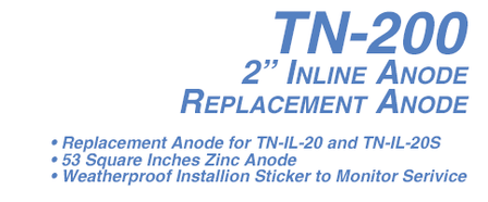 TN-200 In Line Replacement Anode Zinc-2 in.