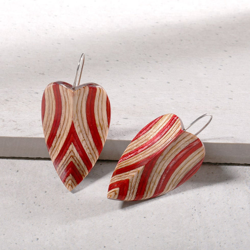wood drop earring