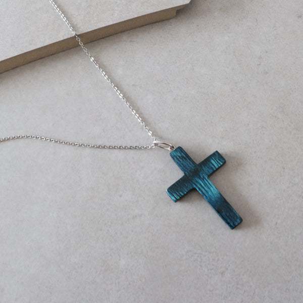 handmade small wooden cross necklace