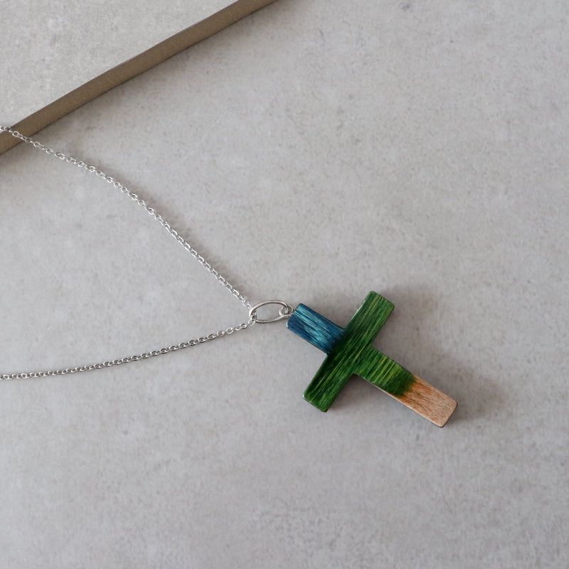 small wood cross necklace