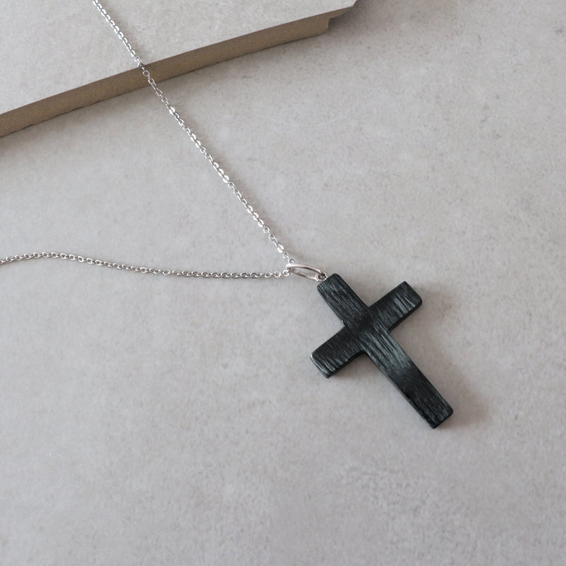 handcrafted small wooden cross necklace