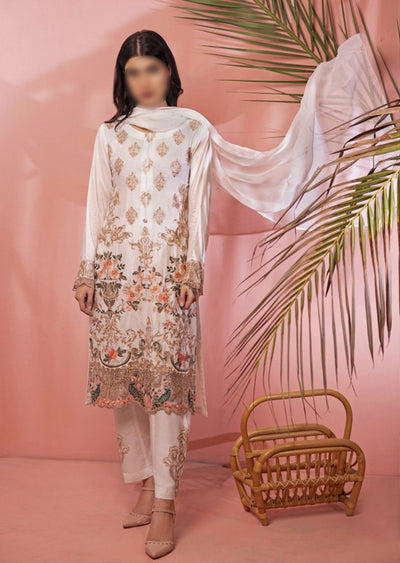 HK08 Readymade White Embroidered Linen Suit - Memsaab Online
