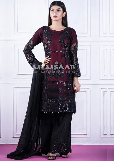 0154 - Readymade - Black - Chiffon Partywear Embroidered Designer Suit - Memsaab - Memsaab Online