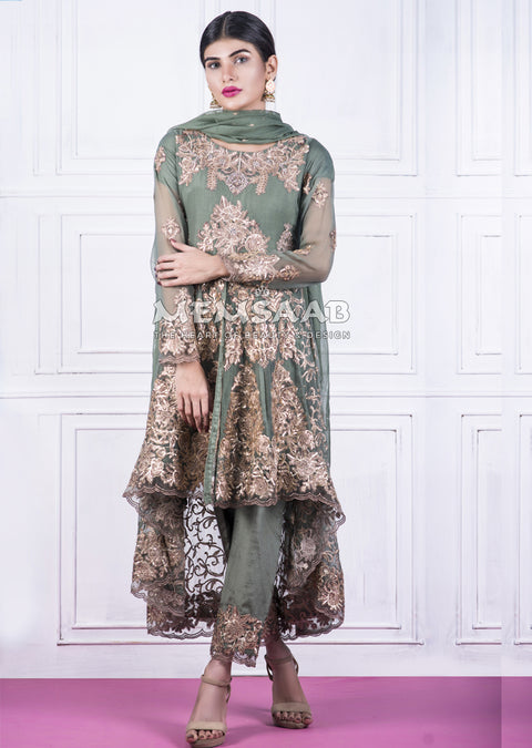 0150 - Readymade - Green - Embroidered Tail Suit - Memsaab - Memsaab Online