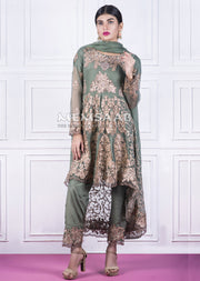 Readymade - Green - Embroidered Tail Suit - Memsaab - Memsaab Online