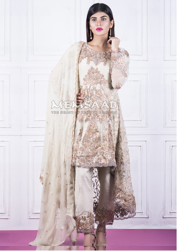 Readymade - Off White - Embroidered Tail Suit - Memsaab - Memsaab Online