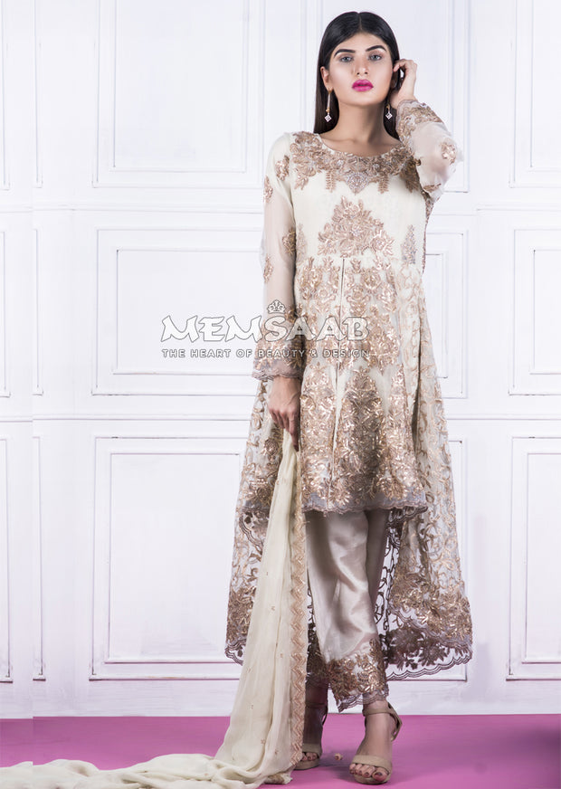 0150 - Readymade - Off White - Embroidered Tail Suit - Memsaab - Memsaab Online