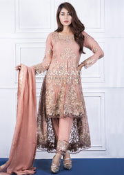 0150 - Readymade - Peach - Embroidered Tail Suit - Memsaab - Memsaab Online