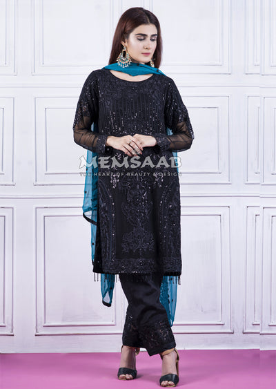 Readymade - Black - Chiffon Partywear Embroidered Designer Suit - Memsaab - Memsaab Online