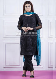 0156 - Readymade - Black - Chiffon Partywear Embroidered Designer Suit - Memsaab - Memsaab Online