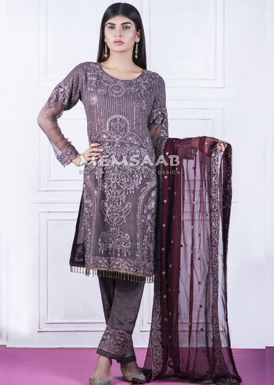 0156 - Readymade - Mauve - Chiffon Partywear Embroidered Designer Suit - Memsaab - Memsaab Online