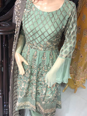 0184 Readymade Green Chiffon Tail Dress - Memsaab Online