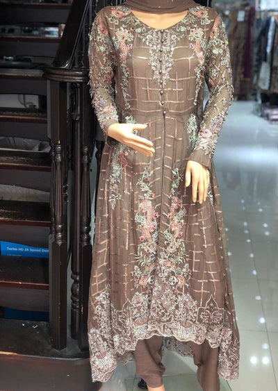 PS0195 Passion - Readymade Brown Trail Dress - Memsaab Online