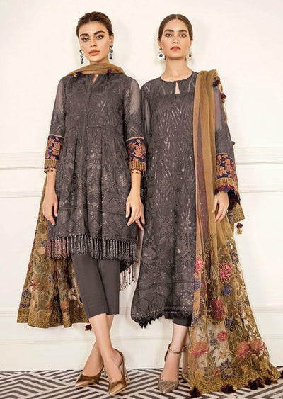Cerise - Grey Unstitched Baroque Chantelle Embroidered Chiffon Suit - Memsaab Online