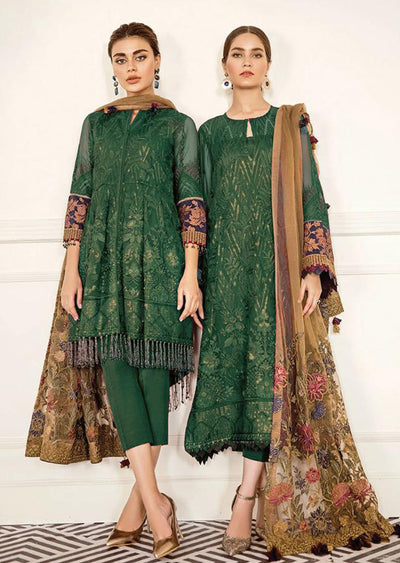 Cerise - Green Unstitched Baroque Chantelle Embroidered Chiffon Suit - Memsaab Online