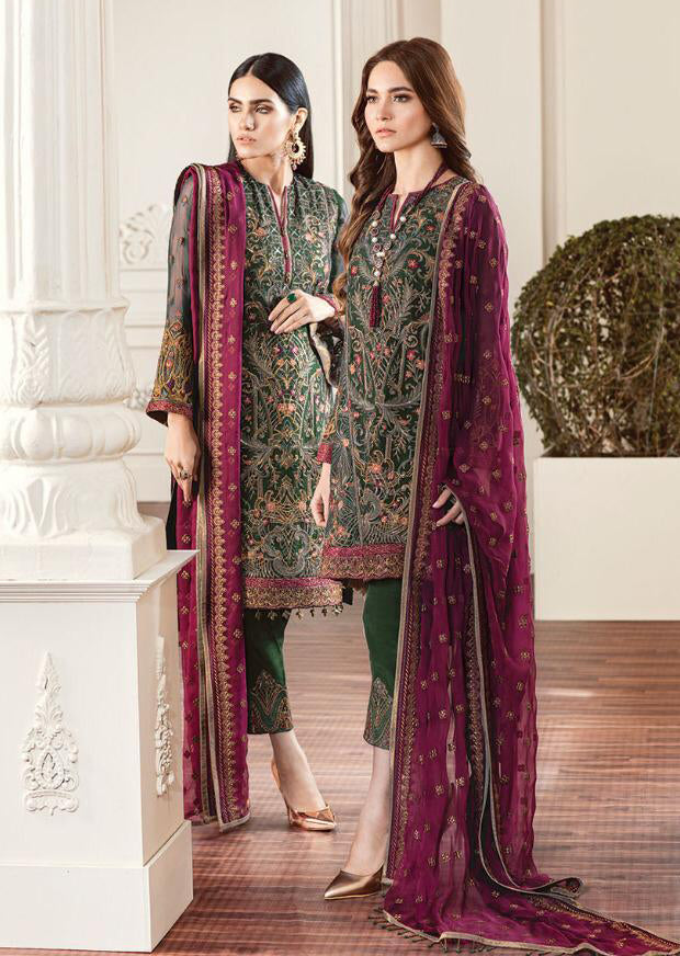 01 Rouge - Green - CHANTELLE - Baroque Embroidered Chiffon Fancy Pakistani Designer Suit - Memsaab Online