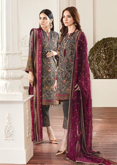 01 Rouge - Grey - CHANTELLE - Baroque Embroidered Chiffon Fancy Pakistani Designer Suit - Memsaab Online