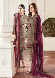 01 Rouge - Mendhi - CHANTELLE - Baroque Embroidered Chiffon Fancy Pakistani Designer Suit - Memsaab Online