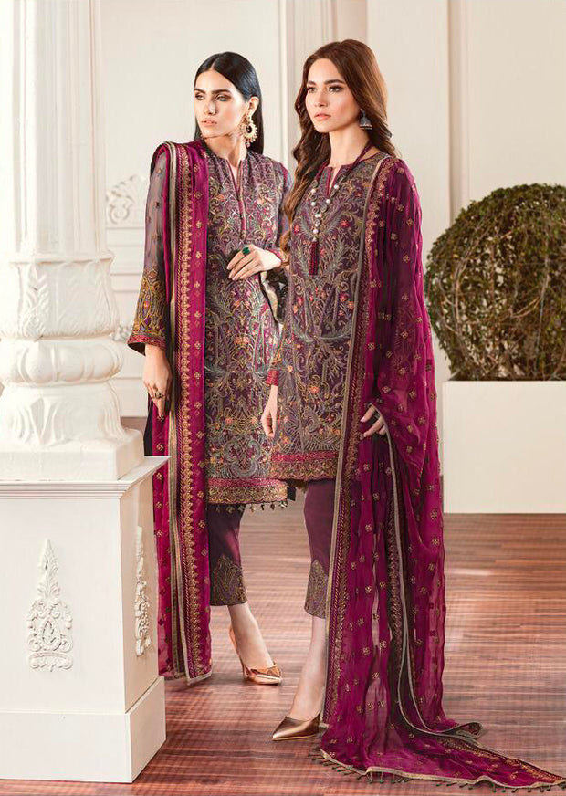 01 Rouge - Dark Pink - CHANTELLE - Baroque Embroidered Chiffon Fancy Pakistani Designer Suit - Memsaab Online