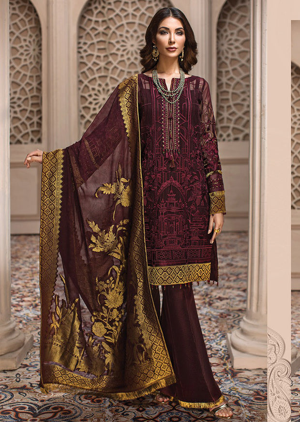 01 Royelle - SHAHNAMEH Embroidered Chiffon Eid Collection by Jazmin - Unstitched Pakistani elite Designer suit - Memsaab Online