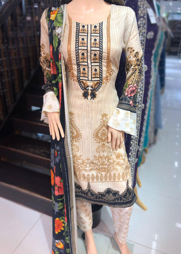 AMT1926 Gold Readymade Embroidered Lawn Dress - Memsaab Online