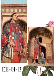 01 B - Emaan Eshaal - Luxury Festive Lawn 2019 - Unstitched - Embroidered designer lawn suits original - Memsaab Online