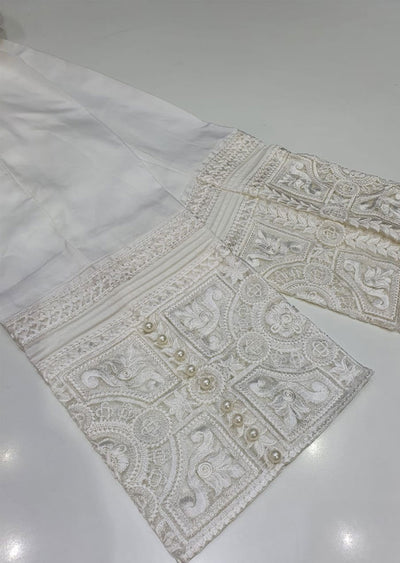 DXT01 White Embroidered Trouser - Memsaab Online