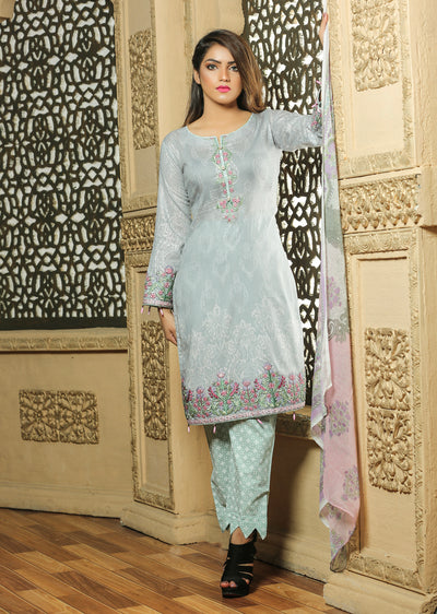 02B Ubrooj - Grey - Unstitched Embroidered High Quality Lawn Suit - Memsaab Online
