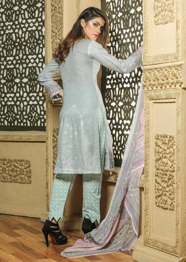 02 Ubrooj by Memsaab - Grey - Pakistani Readymade Embroidered Lawn Suits - Memsaab Online