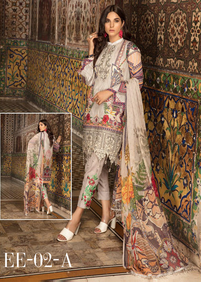 02 A - Emaan Eshaal - Luxury Festive Lawn 2019 - Unstitched - Embroidered designer lawn suits original - Memsaab Online