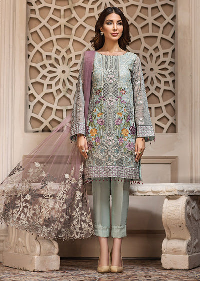 02 Larmina - SHAHNAMEH Embroidered Chiffon Eid Collection by Jazmin - Unstitched Pakistani elite Designer suit - Memsaab Online