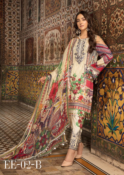 02 B - Emaan Eshaal - Luxury Festive Lawn 2019 - Unstitched - Embroidered designer lawn suits original - Memsaab Online
