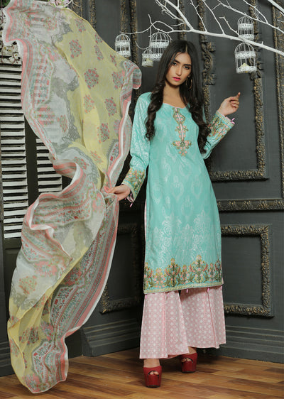 02 Ubrooj by Memsaab - Sea Green - Pakistani Readymade Embroidered Lawn Suits - Memsaab Online