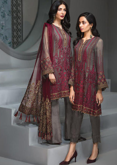 Rose Maison - Grey Unstitched Baroque Embroidered Chiffon Suit - Memsaab Online