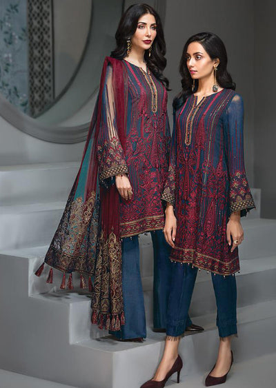 Rose Maison - Navy Unstitched Baroque Embroidered Chiffon Suit - Memsaab Online