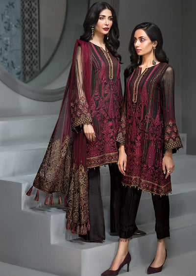 Rose Maison - Black Unstitched Baroque Embroidered Chiffon Suit - Memsaab Online