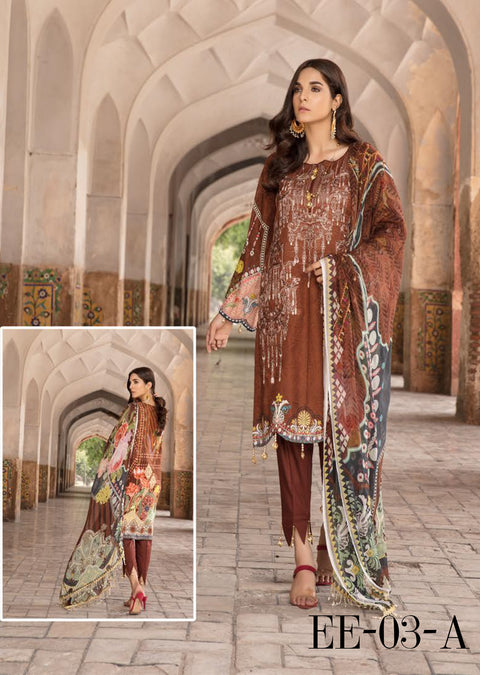 03 A - Emaan Eshaal - Luxury Festive Lawn 2019 - Unstitched - Embroidered designer lawn suits original - Memsaab Online