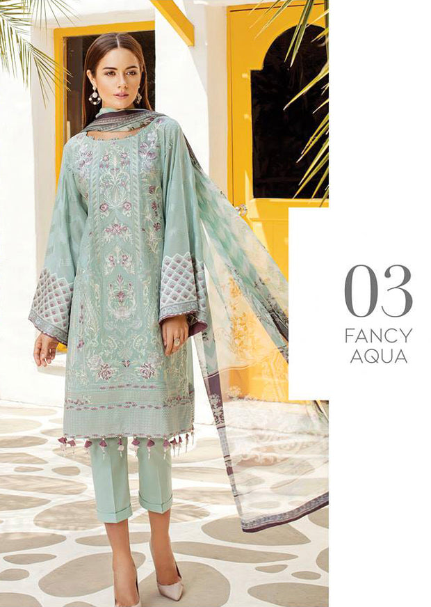 03 Fancy Aqua - Baroque Swiss Voile Collection 2019 - Pakistani Lawn Salwar Kameez Embroidered Summer - Memsaab Online
