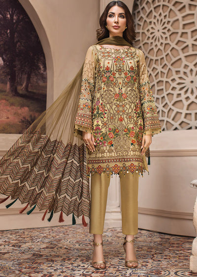 03 Kashm - SHAHNAMEH Embroidered Chiffon Eid Collection by Jazmin - Unstitched Pakistani elite Designer suit - Memsaab Online